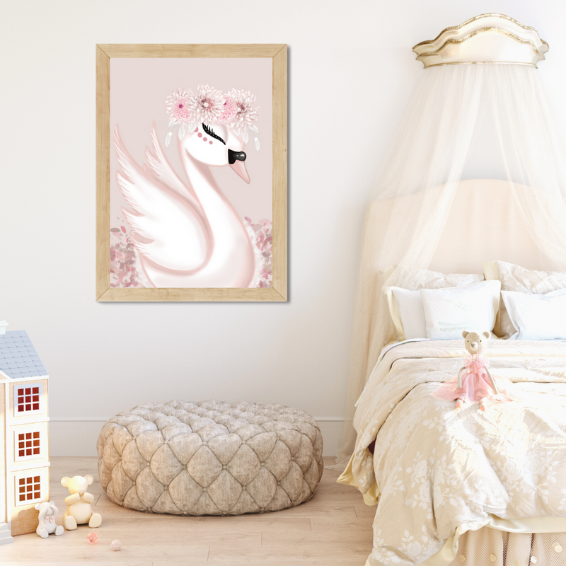 Saphira the Swan with Pink Background - Mae She Reign - Creative Studio