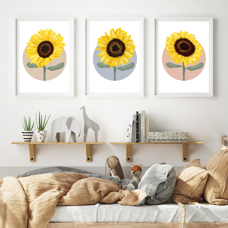 Sunflower in Pink Circle - Mae She Reign - Creative Studio