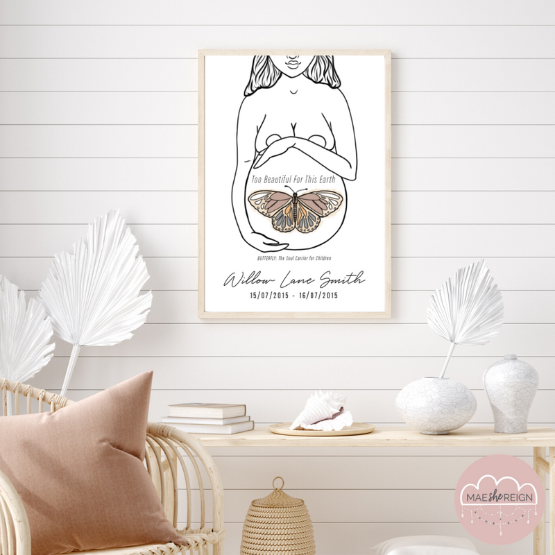 'Mother of Life' - Butterfly Soul Infant Loss Poster - Mae She Reign - Creative Studio