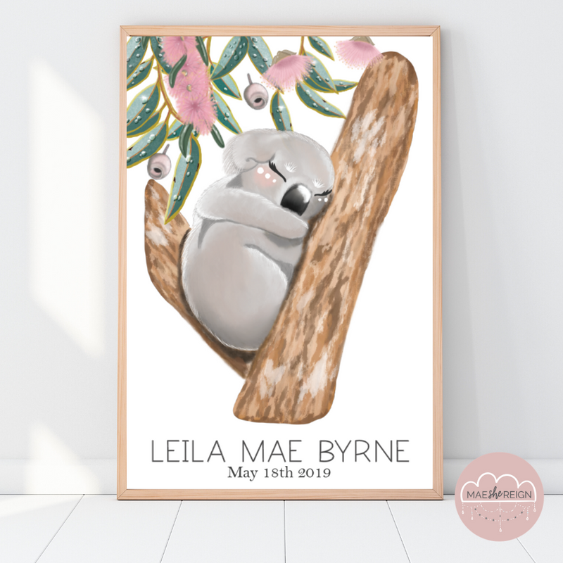 Sleepy Koala with Gumleaves Pink Edition Birth Poster - Mae She Reign - Creative Studio