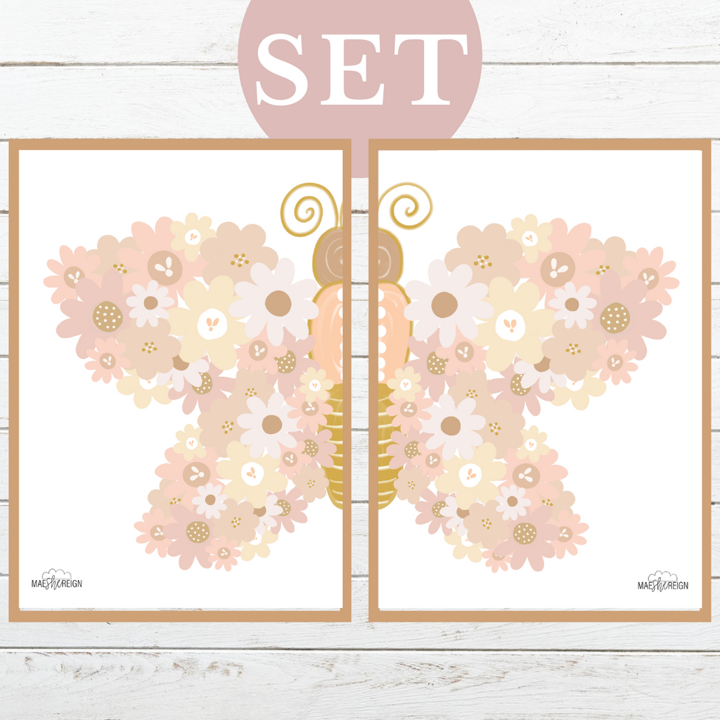 Blush Wildflower Butterfly Set (Duo) - Mae She Reign - Creative Studio