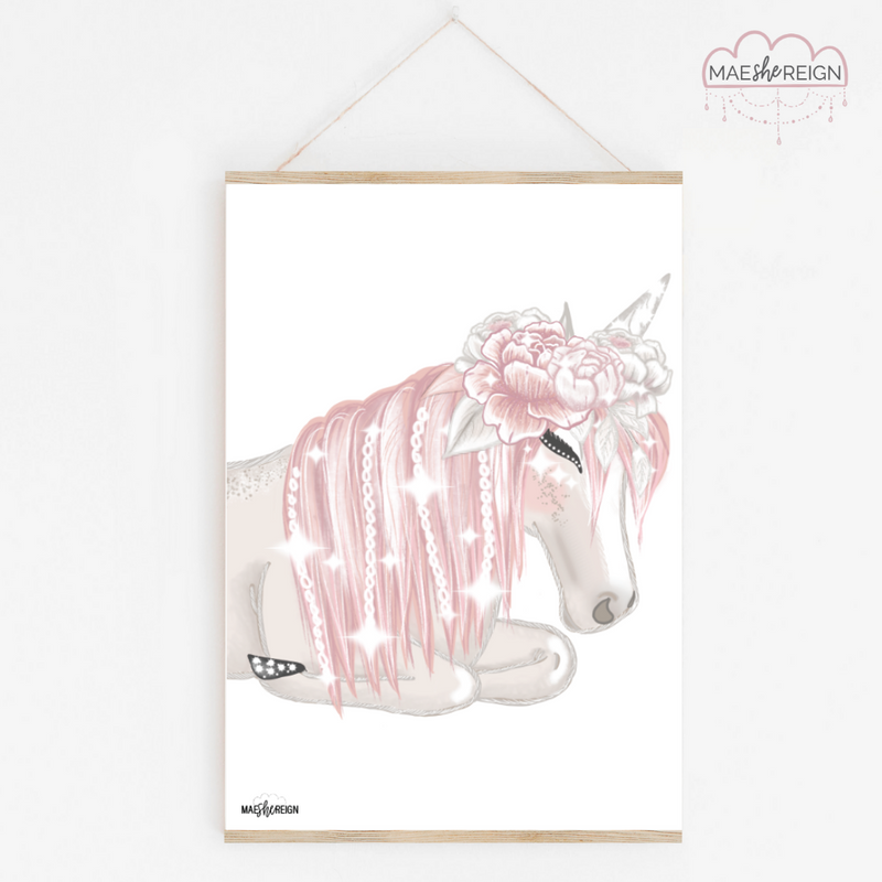 Celeste the Unicorn Sleeping with Flower Crown - Mae She Reign - Creative Studio