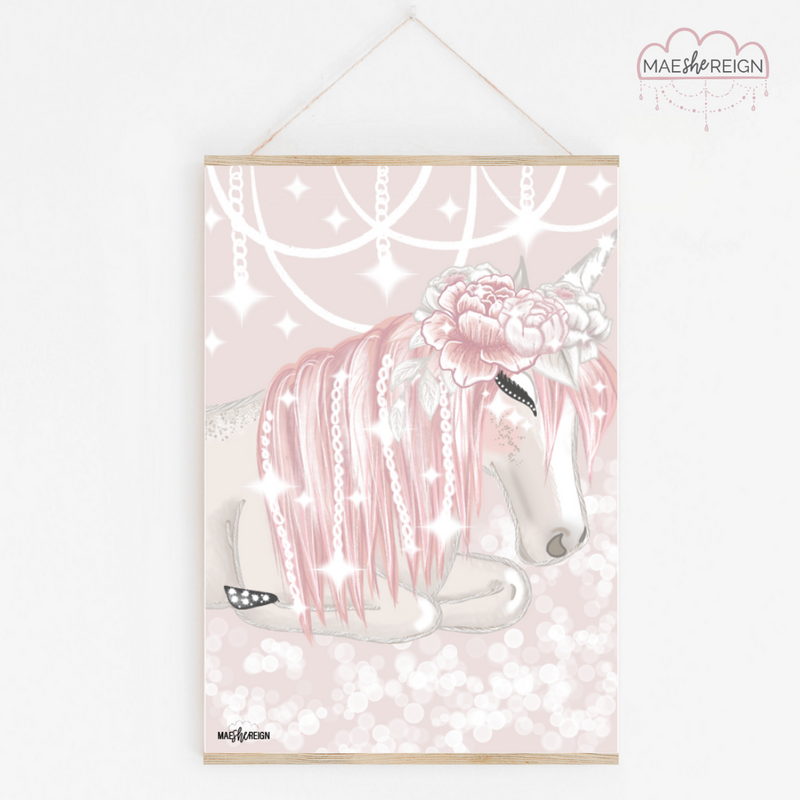 Celeste the Unicorn Sleeping with Flower Crown - Pink Background - Mae She Reign - Creative Studio
