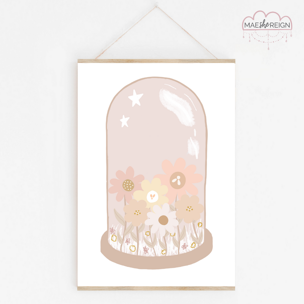 Blush Wildflower Glass Dome - Mae She Reign - Creative Studio