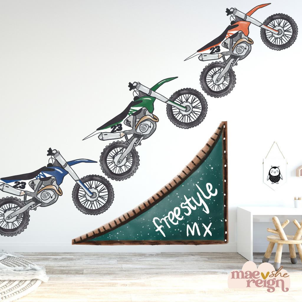 Mega Freestyle Moto-x Dirt Bikes Wall Decals - Mae She Reign - Creative Studio