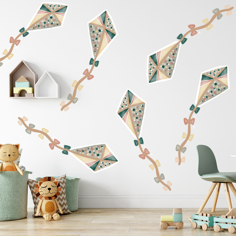 Jungle Green Flying Kites Wall Decals - Mae She Reign - Creative Studio