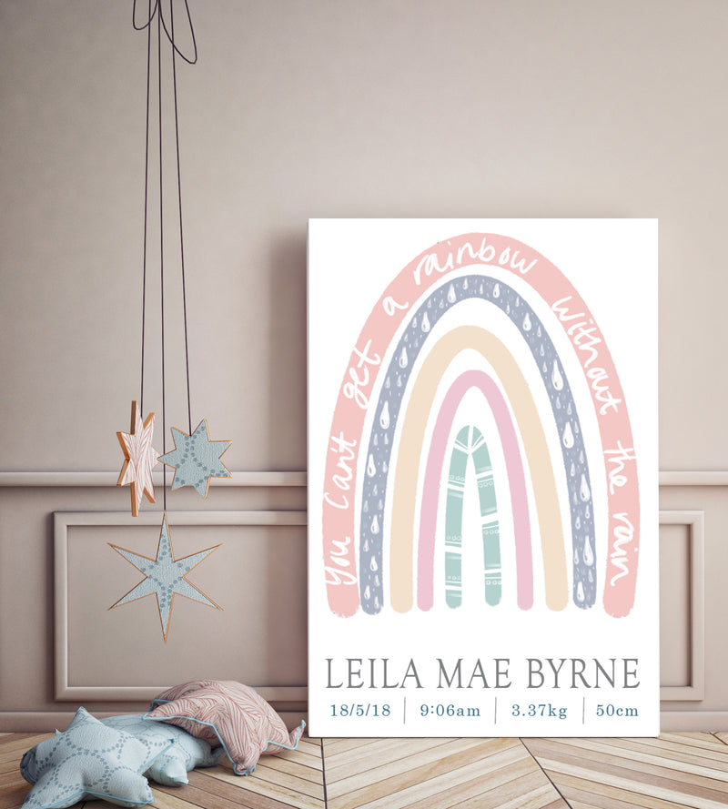 Sorbet Rainbow Birth Poster - Mae She Reign - Creative Studio