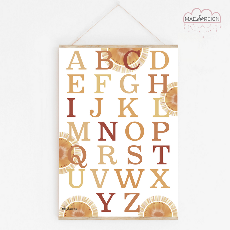 Golden Glow Sunset Alphabet Poster - Mae She Reign - Creative Studio