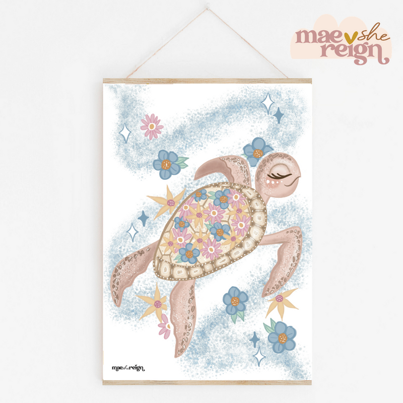 Tallulah the Floral Pink Turtle - Mae She Reign - Creative Studio