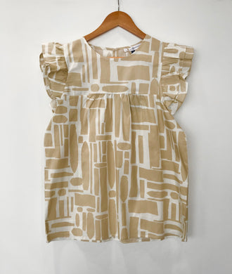 Short Sleeve Square Pattern Top