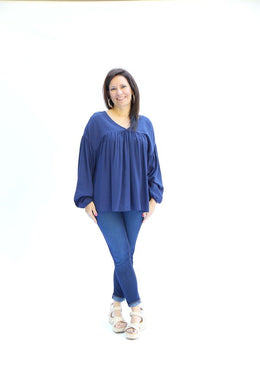 Long Sleeve Loren Top- Navy