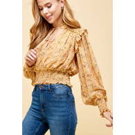 Ruffled Mustard Smocked Shirt