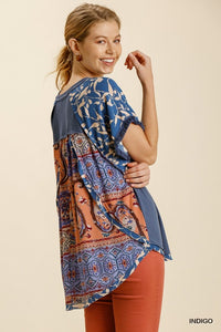 Multi Print Frayed Short Sleeve Top- Indigo