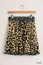 Load image into Gallery viewer, Tan Leopard Print Skirt with Elastic Waistband