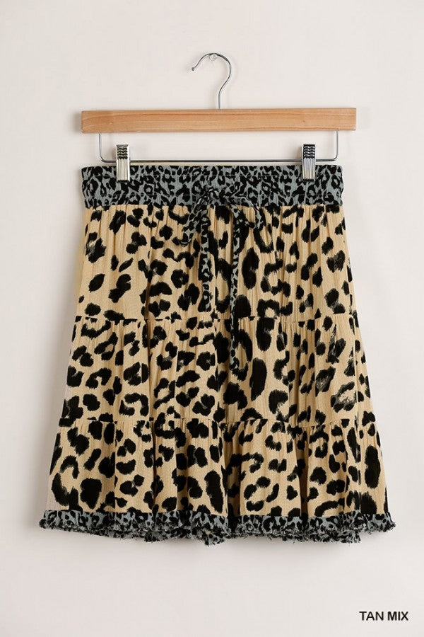 Tan Leopard Print Skirt with Elastic Waistband