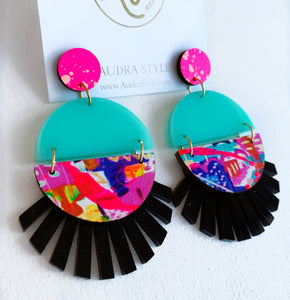 Roxie - Neon Pink Turquoise Abstract Black
