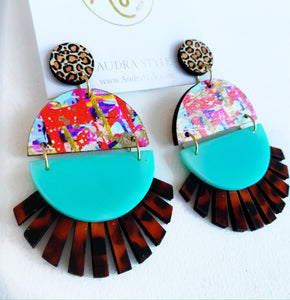 Roxie - Leopard Red Abstract Turquoise Tortoise