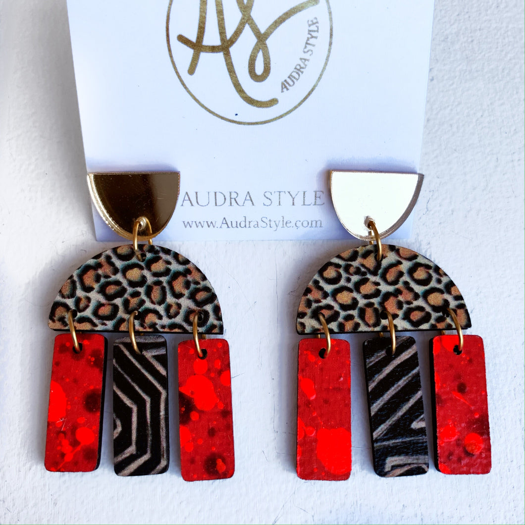 Agatha - Gold Leopard Red Black Geo