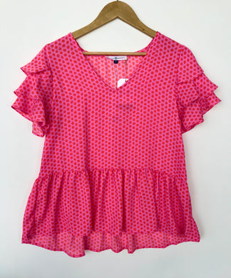 Short Sleeve Polka Dot Shirt Ruffles- Pink