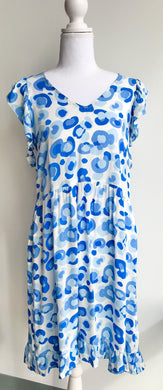 Short Sleeve Blue Leopard Print Dress