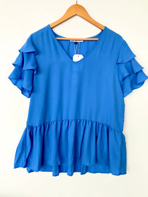 Short Sleeve Miriam Top- Blue