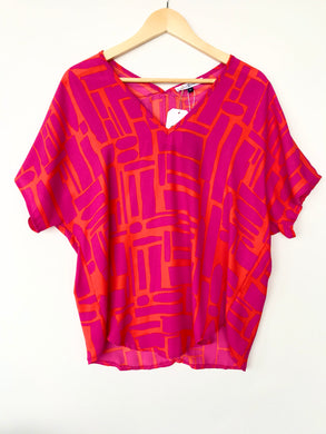 Flowy Pattern Short Sleeve Top- Orange Pink