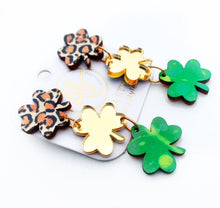 Load image into Gallery viewer, Shamrock Trio Dangles - Leopard Green Gold