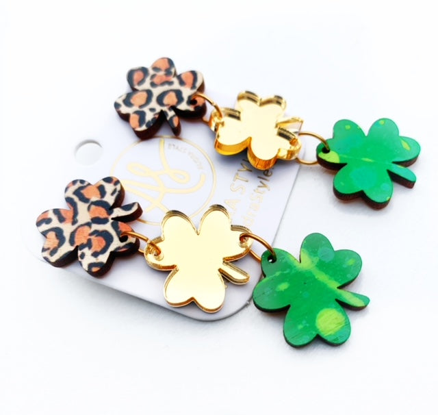 Shamrock Trio Dangles - Leopard Green Gold