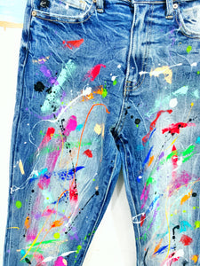 Limited Edition Abstract, Drip and Splatter Painted Jeans