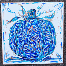 Load image into Gallery viewer, Blue and White Pumpkin Original Painting on Canvas