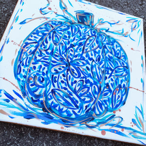 Blue and White Pumpkin Original Painting on Canvas
