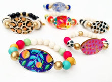 Load image into Gallery viewer, Audra Style™️ Navy Citrus Focal Bead Beaded Bracelet