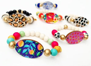 Audra Style™️ Navy Citrus Focal Bead Beaded Bracelet