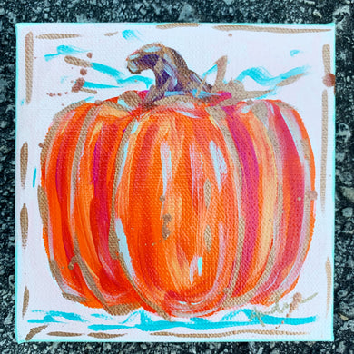 Orange Pumpkin Original Painting on Canvas