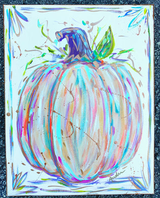 Pumpkin in Pastels Original Painting on Canvas