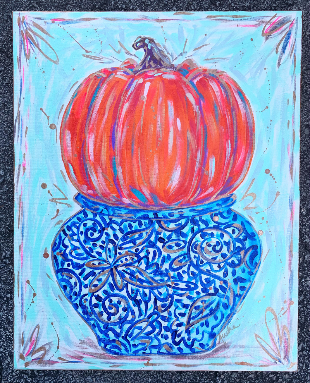 Pumpkin in Ginger Jar Painting on Canvas