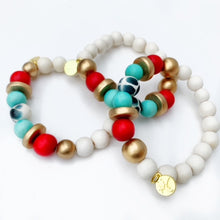 Load image into Gallery viewer, Audra Style™ Red Aqua Black White Stacking Bracelet
