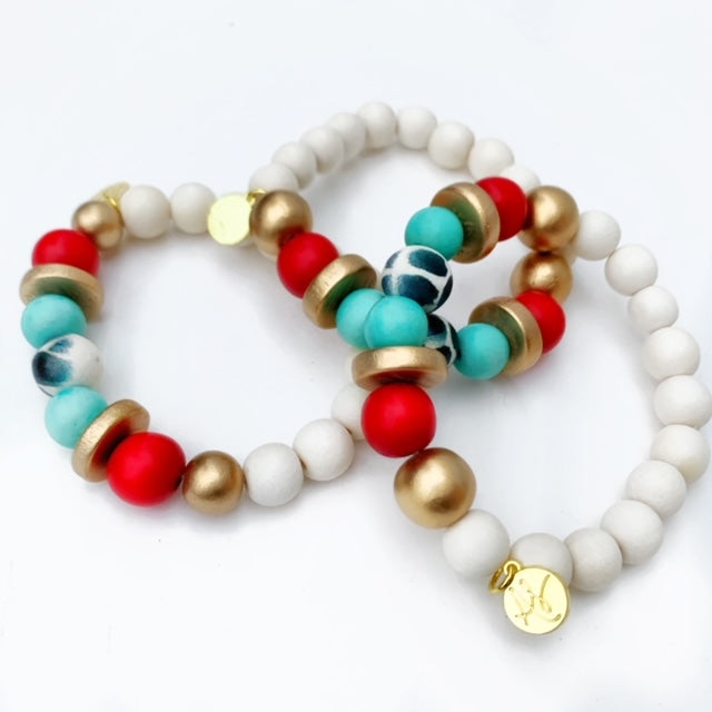 Audra Style™ Red Aqua Black White Stacking Bracelet