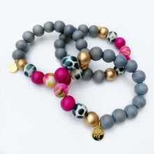 Load image into Gallery viewer, Audra Style™ Grey Black White Magenta Abstract Stacking Bracelet
