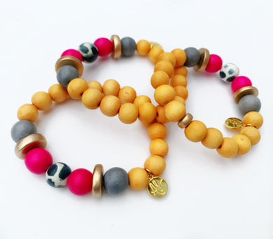 Audra Style™ Mustard Grey Fuchsia Gold Disk Stacking Bracelet