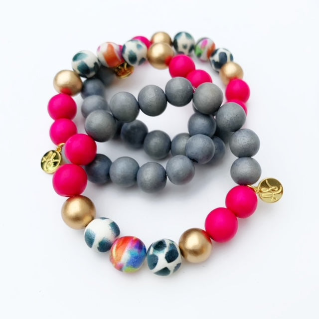 Audra Style™ Grey Fuchsia Black White Abstract Stacking Bracelet