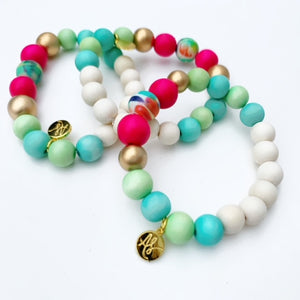 Audra Style™ Aqua Lime Fuchsia Abstract Stacking Bracelet