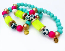 Load image into Gallery viewer, Audra Style™ Aqua Fuchsia Black White Neon Yellow Disk Stacking Bracelet