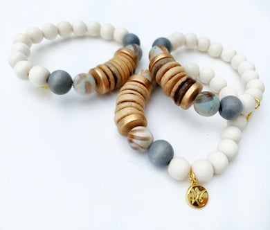 Audra Style™ Light Coconut Neutral Abstract Grey Stacking Bracelet