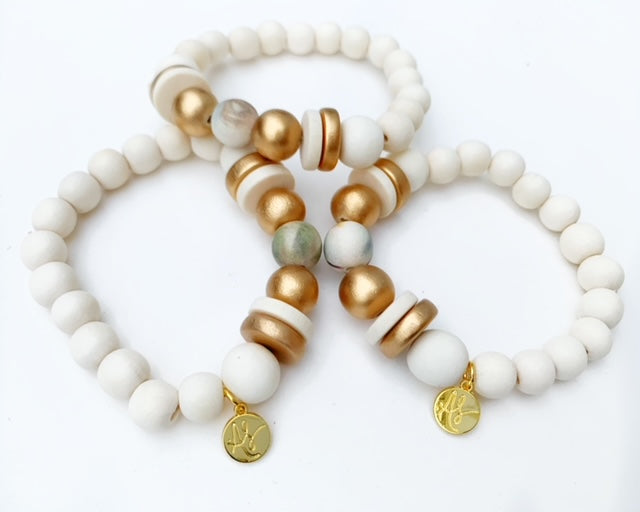 Audra Style™ Gold Neutral Abstract White Stacking Bracelet