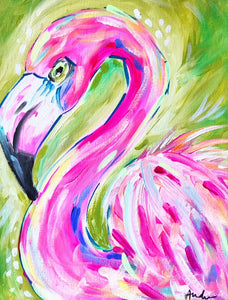 Flamingo Green Background Print