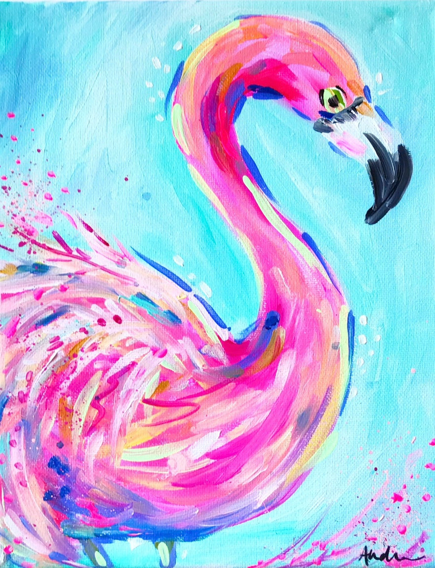 Flamingo Aqua Background Print