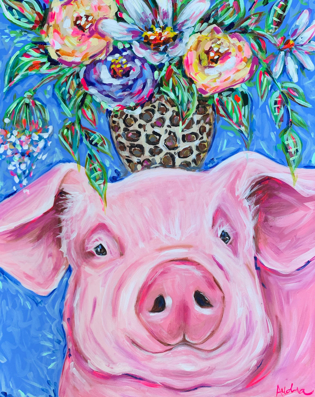 Pig with Leopard Bouquet Print