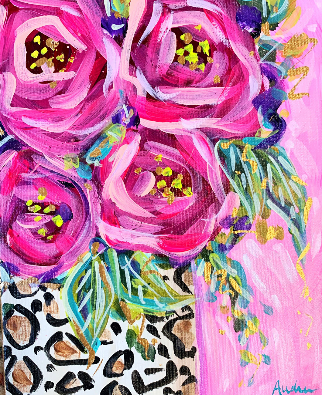 Leopard Jar and Roses Pink Background Print