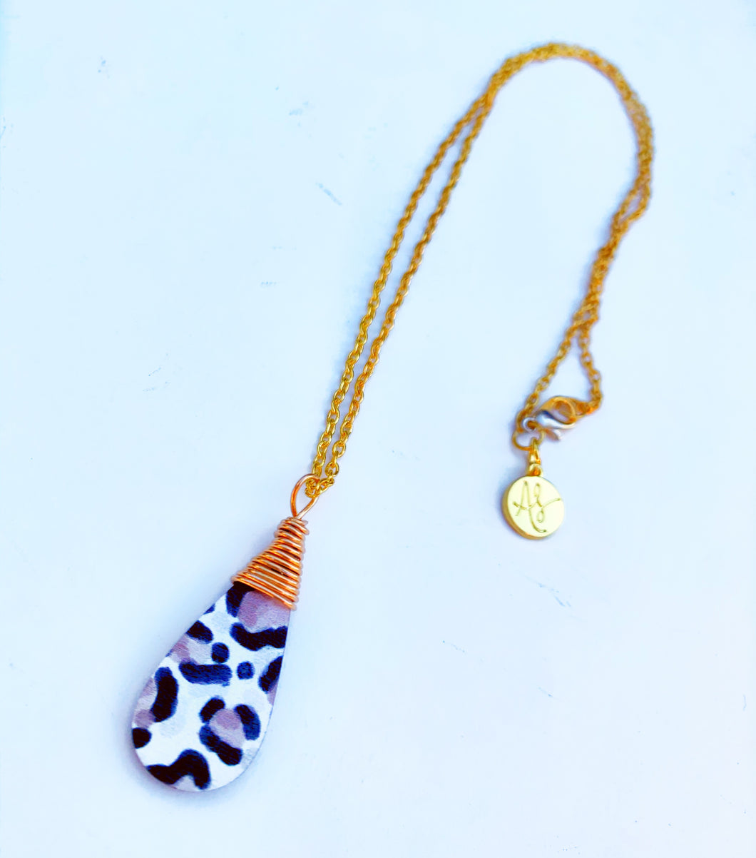 Audra Style™️ Taupe Leopard Wire Wrap Drop Pendant Chain Necklace